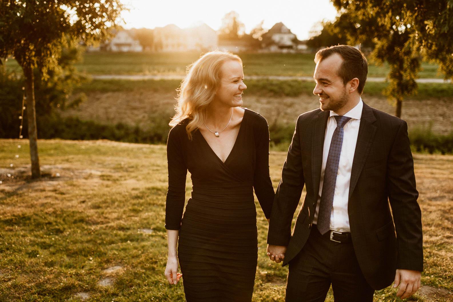 Hochzeit auf Burg Heimerzheim Sonnenuntergang